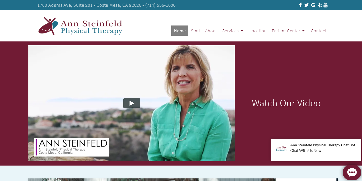 Physical Therapy Costa Mesa, Ca Ann Steinfeld Pt